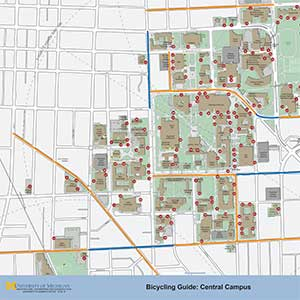 Central Campus bicycle rack locations