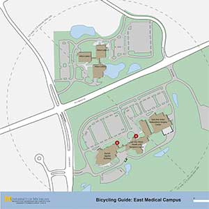 East Campus bicycle rack locations