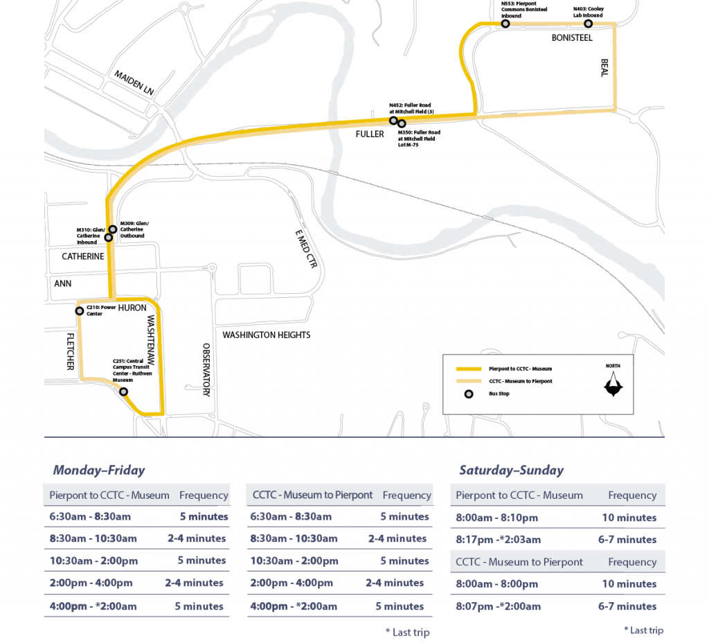 Campus Connector route map and schedule